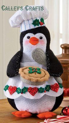 Bucilla Chef Penguin ~ Felt Christmas Decoration Kit # 86334 ~ 2012 Publication in Craft, Craft w Felt Christmas Decorations, Felt Christmas Ornaments, Christmas Stockings, Christmas Sewing, Christmas Home, Holiday Crafts, Holiday Decor, 242, Felt Applique