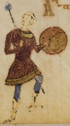 Psalter of Theodore of Caesarea, Byzantine - 178v (lower) Warrior with mace and shield