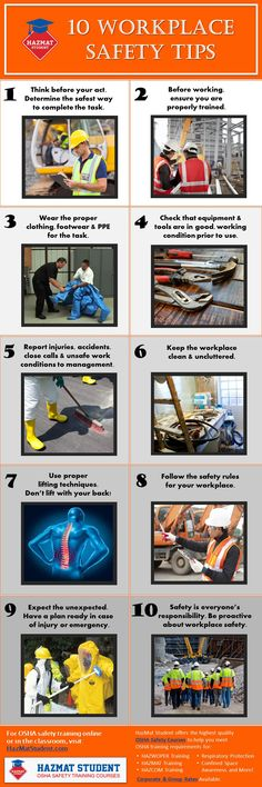 Top 10 Workplace Safety Tips to help prevent injuries and accidents on the job.