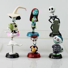 6 Stks/set Nightmare Before Christmas Figuur Lock Sally Zero Barrel Shock Jack Actiefiguren Speelgoed PVC Pop Speelgoed 5 ~ 7 cm