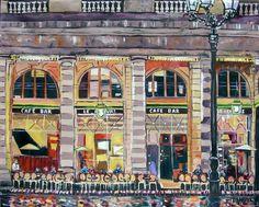 Wine Cafe Cigar Bar Huge Contemporary Modern Original by danbyl Cigar Bar, Cafe Bar, Coffee Cafe, Large Art, Impressionism, Art For Sale, Paris France, Modern Contemporary, Buy Art