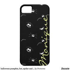 halloween pumpkin, bat, spider and owl with name case for the iPhone 5