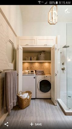 Laundry in bathroom