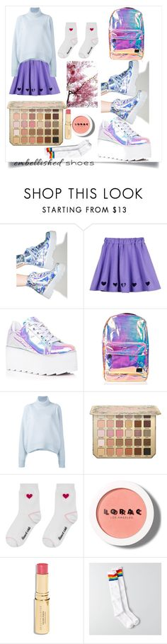 """""""Hologram Embellished"""" by blinking-sky ❤ liked on Polyvore featuring Y.R.U., Spiral, CÉLINE, LORAC, Beautycounter and American Eagle Outfitters"""
