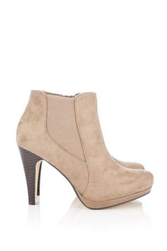 Taupe Platform Ankle Boot - View All Shoes & Boots  - Shoes