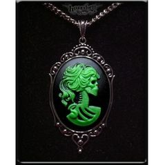 Green Skeleton Lady Cameo Necklace