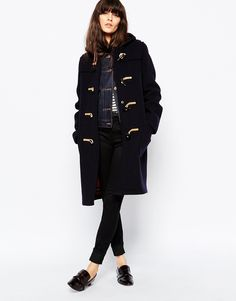 Image 1 of Gloverall Slim Fit Duffle Coat With Tartan Lining ...
