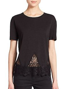 The Kooples Lace-Trim Jersey Tee - Black - Size 3 (X Large)