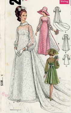 i like the green one :o)  Vogue 2058 Misses 1960s Wedding Dress Pattern Bridesmaids Dresses and Bridal Gown with Train Womens Vintage Sewing Pattern Bust 31.5. $12.00, via Etsy.
