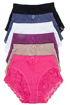 Barbras 6 Pack Womens Light Control Full Coverage Lace Briefs Panties XLarge >>> You can get more details by clicking on the image.