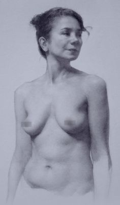 """Incarnée"" by Helena Vallée Dallaire, nude female figure, graphite on paper drawing, 2015. helenavd.com"