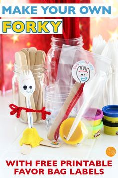 Make your own Forky is the perfect idea for a Toy Story party! Make a Forky craft station or Forky goody bags with free printable favor bag labels. Kids will love to make their own Forky toy - perfect for a Toy Story 4 party or a Toy Story birthday party idea! #forky #ToyStory #birthdayparty #partyideas #kidsparty