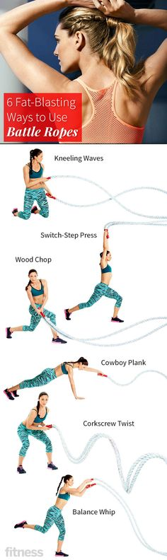 Six battle rope exercsises that work your entire body, especially your core, shoulders and arms.