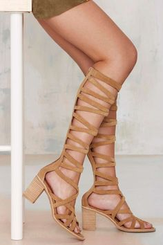 Jeffrey Campbell Enyo Knee-High Suede Sandal - Camel - Shoes | Heels | Jeffrey Campbell