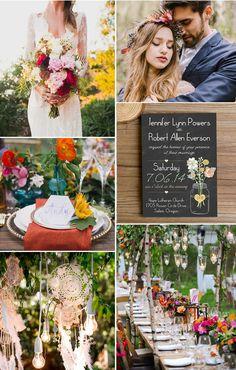 colorful rustic boho wedding ideas