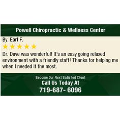 Dr. Dave was wonderful! It's an easy going relaxed environment with a friendly staff!...