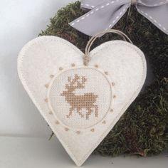 Natúr rénszarvas szív, Dekoráció, Karácsonyi, adventi apróságok, Otthon, lakberendezés, Karácsonyi dekoráció, Meska