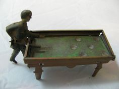 ANTIQUE GERMAN TIN PENNY TOY MAN SHOOTING POOL