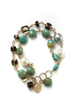 "Look what I found at LizJames.com... Jennifer - Stones and pearls are hand wired on 14kt gold fill chain. Choose from turquoise, ruby, coral, chrysoprase or lapis. 7"" to 8""L"