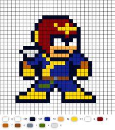 Captain Falcon (F-Zero) Perler Bead Pattern
