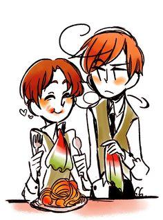 Feliciano and Lovino Vargas ~ don't get upsetti,have some spaghetti~