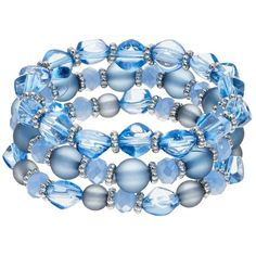 Blue Beaded Stretch Bracelet Set ($8.10) ❤ liked on Polyvore featuring jewelry, bracelets, accessories, blue, med blue, beaded bangles, blue jewelry, beads jewellery, multi colored jewelry and tri color jewelry