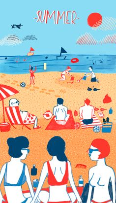 illustration of summer on the beach