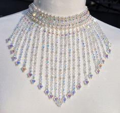 Gargantilla Swarovski collar de perlas de cristal de la boda