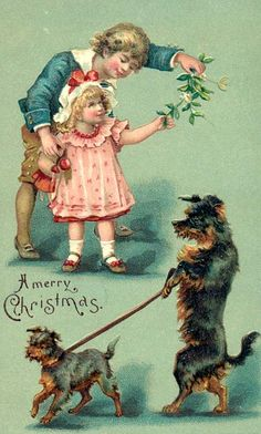 Vintage Christmas Canines Postcard! * 1500 free paper dolls Christmas gifts artist Arielle Gabriels The International Paper Doll Society also free paper dolls The China Adventures of Arielle Gabriel *