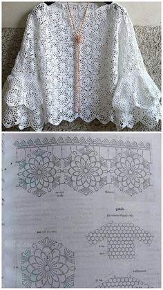 Toque na imagem para baixar receitas de croch e amigurumi totalmente gr tis Débardeurs Au Crochet, Beau Crochet, Pull Crochet, Crochet Blouse, Crochet Stitches, Crochet Patterns, Crochet Tops, Poncho Style, Chrochet