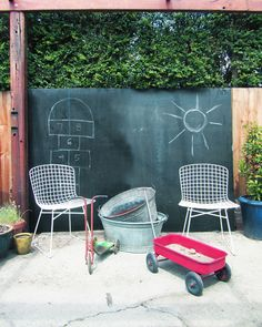 Chalkboard wall in the backyard.