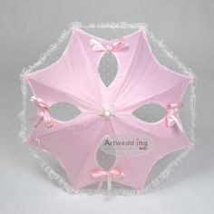 Satin and Lace Wedding Umbrella with Floral Bowknot