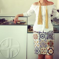 Total Look #JLANG Dinasty Skirt & Necklace (Available in Yellow, Black, Blue, Red, and Orange Leathers)