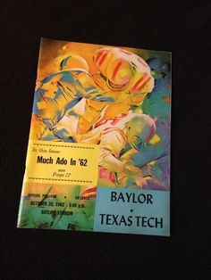 Vintage Baylor Football program for Baylor vs. Texas Tech, 1962