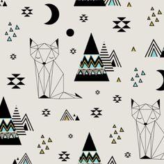 BioJersey Stoff  'Distant Planet' Mint von toddlin town fabrics auf DaWanda.com