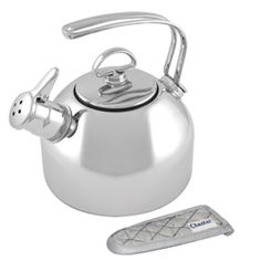 NOPE - Chantal Stainless Steel Classic Teakettle (1.8 Qt.) $99.99. Made in China? Crafted of durable, heavy-gauge stainless steel... Featuring exclusive two-tone harmonica whistle... flat base creates maximum contact for rapid boiling, and the extra-large opening allows for easy cleaning and handling... includes FREE quilted mitt for your convenience. http://www.williams-sonoma.com/products/chantal-whistling-tea-kettle/