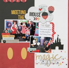 Meeting the Mouse  **Simple Stories DT** - Scrapbook.com - Made with NEW Simple Stories Say Cheese 2 collection. Perfect for any Mickey Mouse and Disney photos!