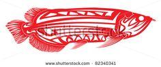 Ryby kmeňové umenie.  Arowana - Stock vektor