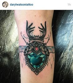 Crystal beetle tattoo by Daryl Watson