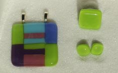 Fused glass Jewelry set, Multicolor Jewelry: ring, pendant, earrings - Handmade