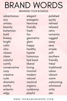 Branding Your Business With A Mood Board Brand words to use when creating a Mood Board for your business! Branding Your Business With A Mood Board Brand words to use when creating a Mood Board for your business! Personal Branding, Branding Your Business, Business Tips, Small Business Marketing, Naming Your Business, Event Planning Business, Small Business Plan, Personal Logo, Etsy Business