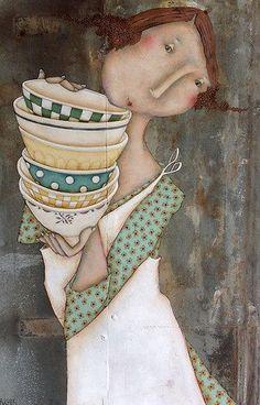 Magalie Bucher ILLUSTRATION Art Fantaisiste, Art Et Illustration, Inspiration Art, Ceramic Painting, Whimsical Art, Beautiful Artwork, Mixed Media Art, Female Art, Illustrations Posters
