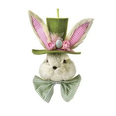 """Bunny Head with Hat Size: 13"""" Cream bunny head with moss green hat, ears trimmed with pink check and wearing a striped bow tie. Arriving early 2015"""