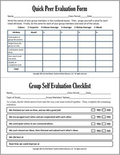 The Group Work Peer Evaluation Forms Allow Students To