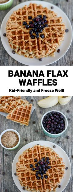 These Banana Flax Waffles are made with just seven ingredients and no added sugar. They freeze well and make a great breakfast or snack! Best Waffle Recipe, Waffle Recipes, Baby Food Recipes, My Recipes, Favorite Recipes, Frozen Waffles, Pancakes And Waffles, Healthy Meals For Kids, Healthy Food