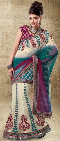 Off White and Dark Magenta Net Lehenga Style Saree