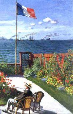 monet beach at st adresse | Claude Monet: Terrace à Sainte-Adresse(1867)