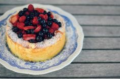 goat cheese cake and boozy berries