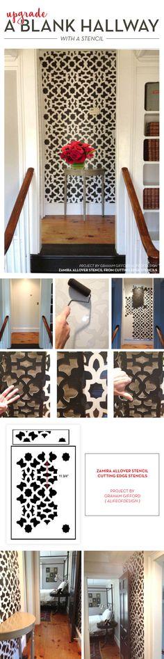 Cutting Edge Stencils shares a DIY stenciled hallway using the Zamira Allover Stencil. Bar Design, Design Studio, House Design, Moroccan Stencil, Moroccan Decor, Stencil Decor, Stencil Designs, Stencil Patterns, Cutting Edge Stencils