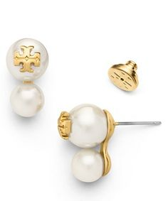 Tory Burch double stud pearl earrings